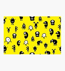 Funny and crazy cartoon monsters seamless pattern Photographic Print