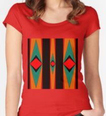 Tribal Red Black Gold Green Women's Fitted Scoop T-Shirt