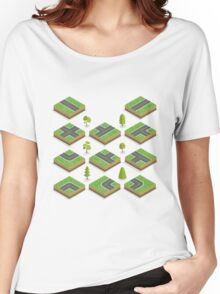 Isometric City Road Elements Set with Trees Women's Relaxed Fit T-Shirt