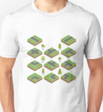 Isometric City Road Elements Set with Trees T-Shirt
