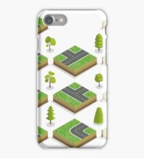 Isometric City Road Elements Set with Trees iPhone Case/Skin