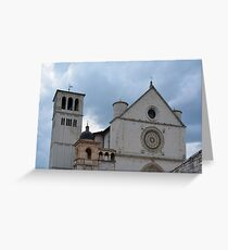 Historic town of Assisi in Italy. Basilica of St. Francis Greeting Card