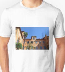 Italian orange building with blue window shutters T-Shirt
