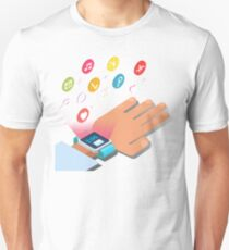 Smart Watch Technology Concept with Hands and Icons T-Shirt