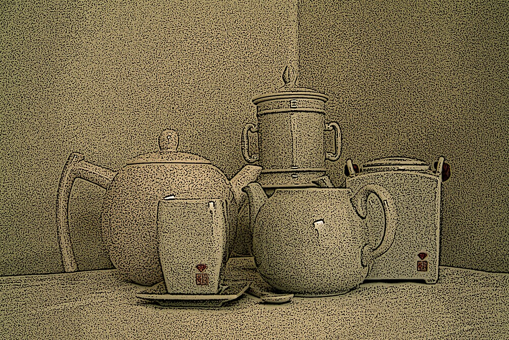 teapot,coffee pot and cup by Marcia Luly