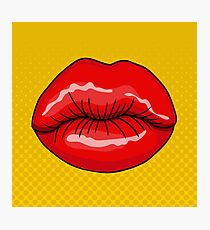 Pretty Female Lips in Retro Pop Art Style Photographic Print