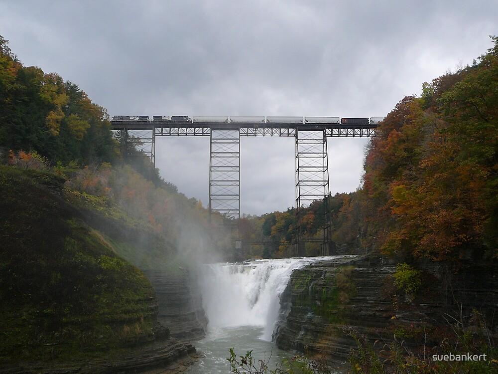 Train Bridge Over Waterfall by suebankert