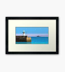 Pixelart Lighthouse Scene Framed Print