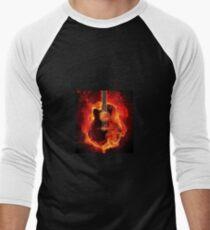 Burning Guitar on Fire Heat Red Black T-Shirt