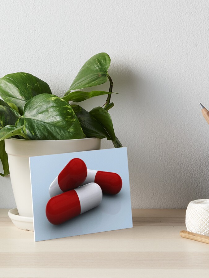 Red and white medication capsules  | Art Board Print