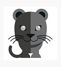 Cute black cartoon panther Photographic Print