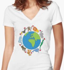 We Love Our Planet | Animals Around The World Women's Fitted V-Neck T-Shirt