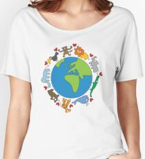 We Love Our Planet | Animals Around The World Women's Relaxed Fit T-Shirt