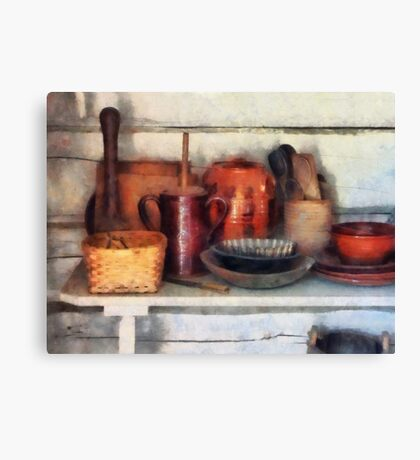 Bowls, Basket and Wooden Spoons Canvas Print