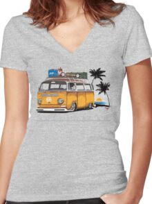 Bay-sitting-at-the-Beach (Orange) Women's Fitted V-Neck T-Shirt