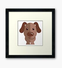 Adorable funny cartoon dog Framed Print