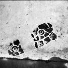 bloody footprint by grayscaleberlin