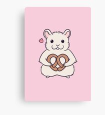 I love you more than this hamster loves pretzels Canvas Print