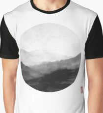 Abstract Japanese Landscape with Mountains and Calligraphy Graphic T-Shirt
