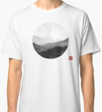 Abstract Japanese Landscape with Mountains and Calligraphy Classic T-Shirt