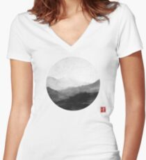 Abstract Japanese Landscape with Mountains and Calligraphy Women's Fitted V-Neck T-Shirt