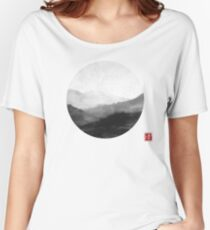 Abstract Japanese Landscape with Mountains and Calligraphy Women's Relaxed Fit T-Shirt