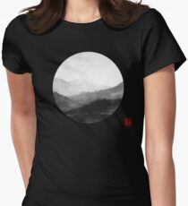 Abstract Japanese Landscape with Mountains and Calligraphy T-Shirt