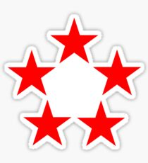 Red Star, FIVE STAR, RED, Stardom, Power to the people! Red Dwarf, Stellar, Cosmic. WHITE Sticker