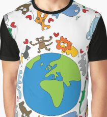We Love Our Planet | Animals Around The World Graphic T-Shirt