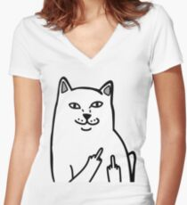 F*ckU Cat - Lord Nermal Women's Fitted V-Neck T-Shirt