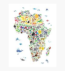 Animal Map of Africa for children and kids Photographic Print