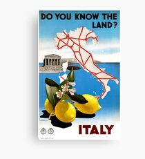 Restored Italy Vintage Travel Poster Canvas Print