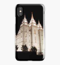 Salt Lake Temple Lit Up at Night iPhone Case/Skin