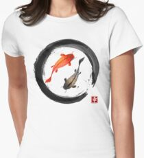 Japanese Koi Vintage Ink Shodo Womens Fitted T-Shirt