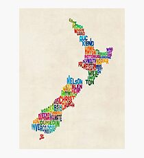 New Zealand Typography Text Map Photographic Print