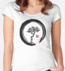 Japanese Pine Tree in Enso Zen Circle - Vintage Japanese Ink Women's Fitted Scoop T-Shirt