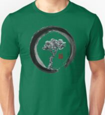 Japanese Pine Tree in Enso Zen Circle - Vintage Japanese Ink Unisex T-Shirt