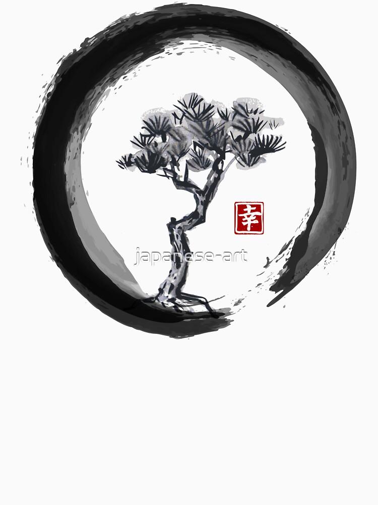 Japanische Kiefer in Enso Zen Circle - Vintage japanische Tinte von japanese-art