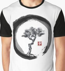 Japanese Pine Tree in Enso Zen Circle - Vintage Japanese Ink Graphic T-Shirt