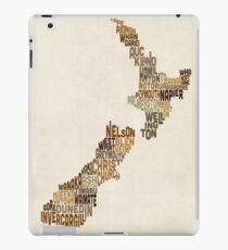 New Zealand Typography Text Map iPad Case/Skin