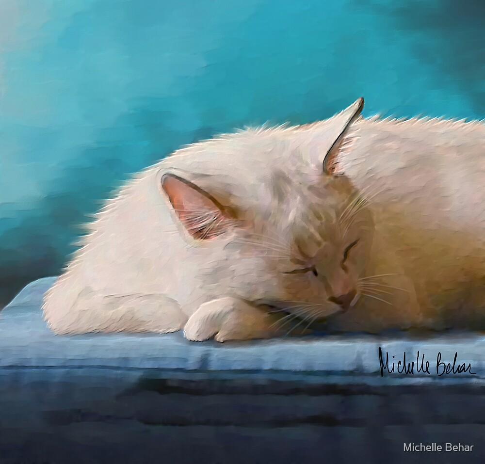 Sleeping White Cat by Michelle Behar