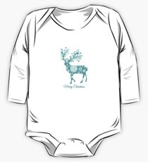 Merry Christmas, teal Christmas deer with snowflakes  One Piece - Long Sleeve