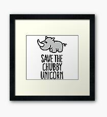 Save the chubby unicorn Framed Print