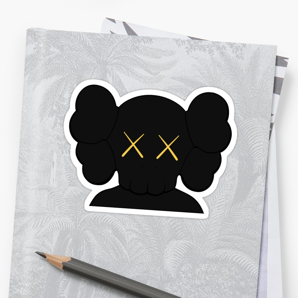 KAWS companion head logo black gold by Picture of nature