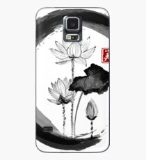 Lotus Flower - Traditional Japanese Ink Painting on Vintage Rice Paper Case/Skin for Samsung Galaxy
