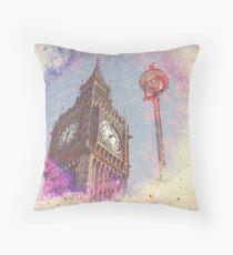 City in Nebula #purple Throw Pillow