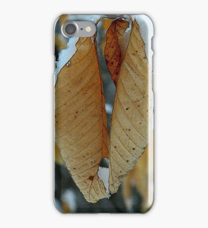 Snowy leaves iPhone Case/Skin