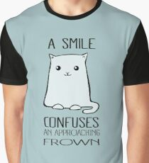 A Smile Confuses An Approaching Frown - Smiling Cat Graphic T-Shirt