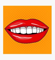 Pretty Female Smiling Lips in Retro Pop Art Style Photographic Print
