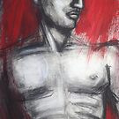 Nude Man Torso On Red by CarmenT
